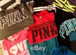 VS Victoria's Secret Pink XS- Med Huge LOT Hoodies half zips long sleeve Bling