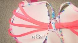 Victoria Secret 36DD Fabulous Top Blue Pink White bikini Strappy Size Large NWT