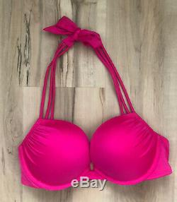 Victoria Secret Bombshell Add 2 Cups Fuchsia Hot Pink Swimsuit Bikini 34C
