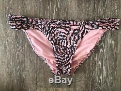 Victoria Secret Bombshell Add 2 Cups Push Up Sequin Pink Zebra Bikini 34C Med
