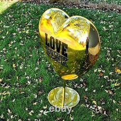 Victoria Secret Gold Heart Love Pink Store Display Large 33 inche Tall Authentic