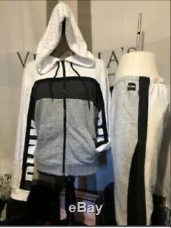 Victoria Secret Large Set Classic Pant Bling Full Zip Grey White Black PINK New