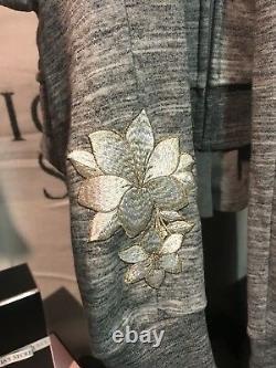 Victoria Secret PINK 3 Pc- Sinny Jogger Zip Up Tank Grey Flower Small Bling New