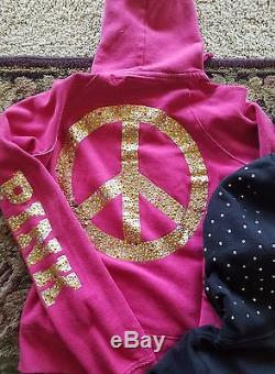 Victoria Secret PINK Bling Rainbow Peace Sequin Hoodies HUGE Lot of 6