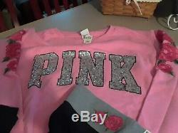 Victoria Secret PINK Bling Rose Embroidered Crew Pullover & legging Last Set Lg