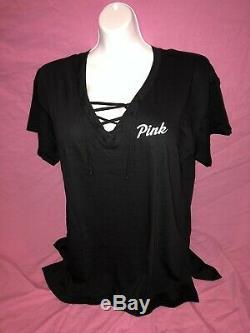 Victoria Secret PINK Campus Lace Up Black Loose Tee Leggings Bling Set L XL New