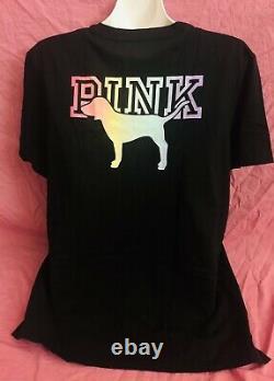 Victoria Secret PINK Campus Rainbow Bright S/S Tee Loose Fit Legging Set XL New