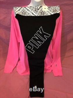 Victoria Secret PINK Cotton Leggings Bright Campus Oversized Tee Set New L XL