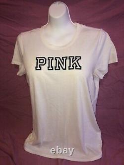Victoria Secret PINK Everyday White Tee Bright Neon Rainbow Legging Set M L New
