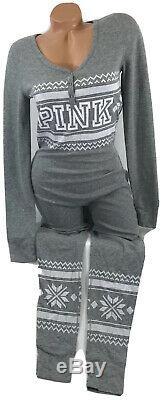 Victoria Secret PINK Gray Thermal Long Jane Pajamas Size Medium