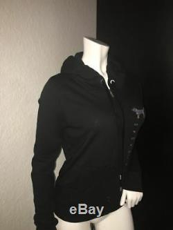 Victoria Secret PINK Hoodie Black Jacket Script Bling Sequin Full Zip Size M