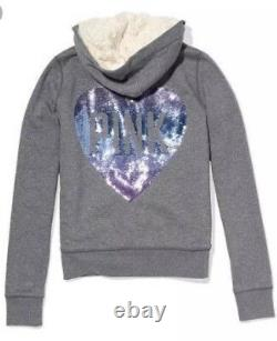 Victoria Secret PINK Hoodie Faux Fur Bling Heart Logo Full Zip Fashion Show Sz M