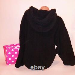Victoria Secret PINK Hoodie Large Sherpa Black Reversible Full Zip Sweater New