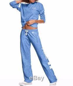 Victoria Secret PINK Legend Blue Marl Tunic Crew Pullover/Boyfriend Pant Set L