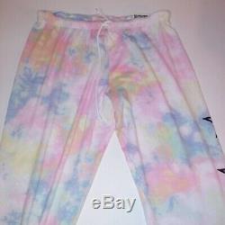 Victoria Secret PINK Lounge Set Full Zip Hoodie Classic Pant Rainbow Tie Dye