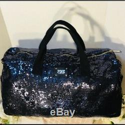 Victoria Secret PINK Midnight Blue Sequin Bling Duffel Bag Tote Travel LARGE