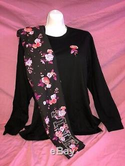 Victoria Secret PINK NEW Campus L/S Tee Legging L XL Black Bling Sequin Rose Set