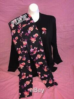 Victoria Secret PINK NEW Campus L/S Tee Ultimate Legging L XL Bling Rose Set