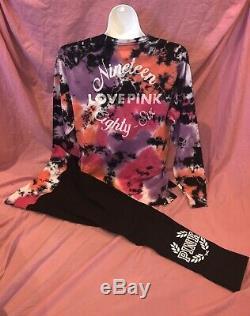 Victoria Secret PINK Oversized Bright Tie Dye Campus Tee Legging Set L XL New