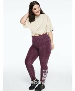 Victoria Secret PINK Oversized Maroon Logo NEW Campus S/S Legging Set XL New
