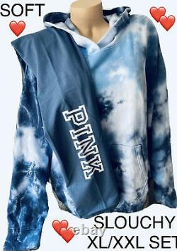 Victoria Secret PINK Pullover Hoodie Tie Dye Sweatshirt LeggingsSLOUCHY XL/XXL
