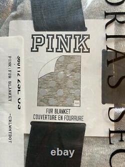 Victoria Secret PINK RARE Faux Fur Sherpa Silver Polka Dot Blanket 60 x 72 New
