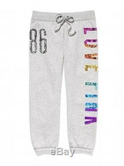Victoria Secret PINK Rainbow Sequin bling Sweat Pant gray LIMITED EDITION Large