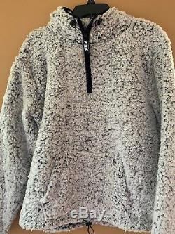 f5d2a6f3b6007 Victoria Secret PINK SHERPA SWEATER QUARTER ZIP Light Grey SMALL NEW