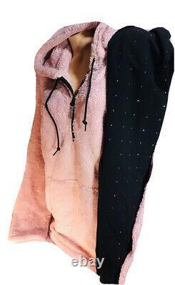 Victoria Secret PINK Sherpa Teddy Pullover & Bling Leggings Set Stunning L/XL