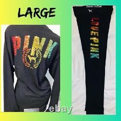 Victoria Secret PINK T Shirt Sequin Bling Campus Tee Rainbow Ombre Leggings L