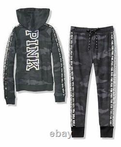 Victoria Secret Pink Bling Perfect Full Zip Hoodie & Skinny Jogger Pant Set Camo