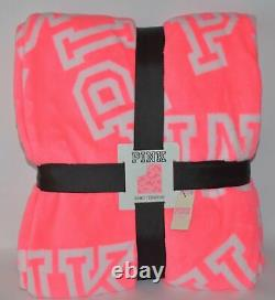 Victoria Secret Pink Cozy Blanket Soft Plush Throw Pink White