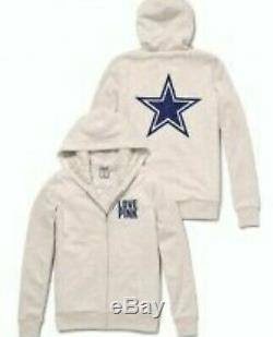 Victoria Secret Pink Dallas Cowboys Fur Lined Hoodie Jacket New