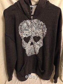Victoria Secret Pink Floral Skull Hooded Zip Up Sweatshirt. Medium. Rare