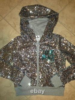 Victoria Secret Pink Hoodie Bling Silver Fashion Miami Dolphins DANCER Sequin