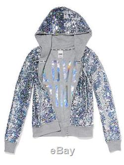 Victoria Secret Pink Hoodie Bling Silver Fashion Sequin rare shiny Jacket dog