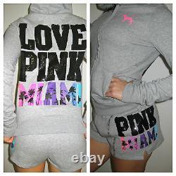 Victoria Secret Pink Hoodie & Shorts Bling Black MIAMI heat dolphins Sequin M