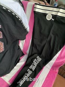 Victoria Secret Pink Large Bling 86 Varsity Lace Varsity Tee Yoga Legging Set 10