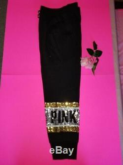 Victoria Secret Pink Sequin Bling Perfect Zip Hoodie Skinny Sequin Jogger Pant