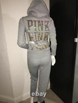 Victoria Secret Pink Set Sweat Shirt Hoodie L & Sweat Pants Gray Bling Sequin