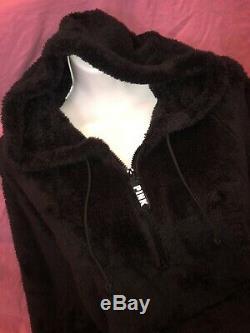 Victoria Secret Pink Sherpa Teddy half-zip Hoodie Black Legging Set L XL New