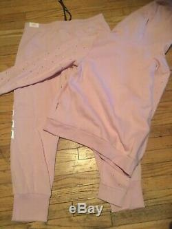 Victoria Secret Pink Skinny Jogger And Pull Over Hoodie Outfit Large BLING rose