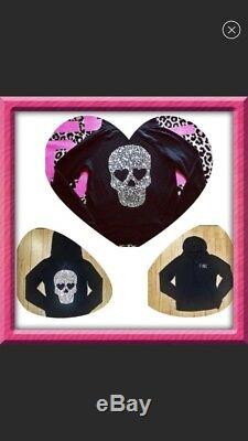 Victoria Secret Pink Skull Sequin Rare Bling Hoodie Knit Sweater