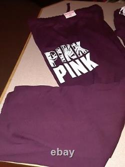 Victoria Secret Pink TROPICAL Palm Half Zip Pullover & Boyfriend pant set Large