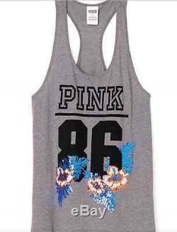 Victoria Secret Pink Tee & Pants set Bling gray Sequin tropical Flower hawaii S