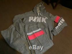 Victoria Secret Pink color Block Retro Logo Full Zip & Campus Pant set L