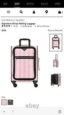 Victoria Secret Signature Pink Stripe Suitcase