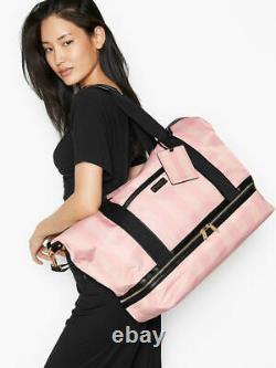 Victoria Secret Signature Pink Stripe Suitcase and Getaway Overnight Bag 2021
