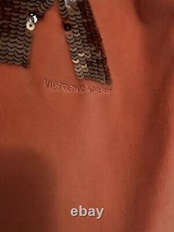 Victoria Secret Vintage LOVE PINK bling Orange Peach Velour Hoodie Pant Set