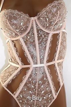 Victoria's Secret Designer Collection Embellished Lace Teddy 34B 34C 34D pink